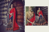 Graceful & Elegant Red & Navy Blue  Color Bamberg Georgette Saree