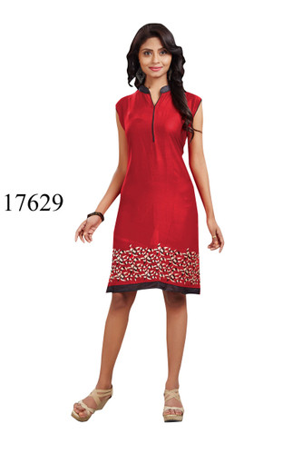 Fascinating Red Colored Rayon Kurti