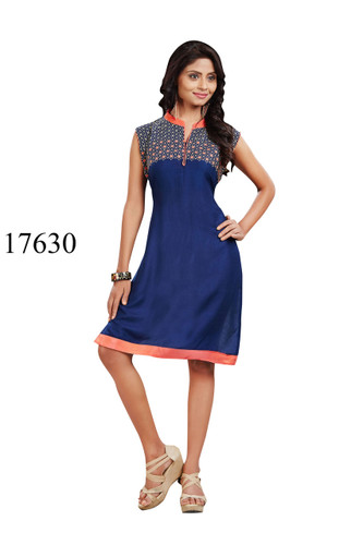 Fascinating Blue Colored Rayon Pretty Kurti