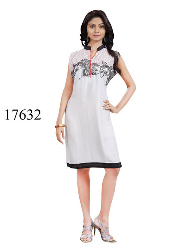 Fascinating Off White Colored Rayon Kurti