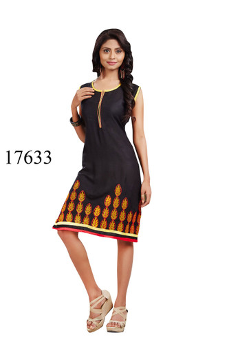 Fascinating Black Colored Rayon Kurti