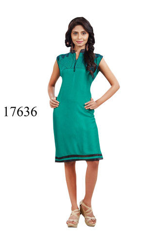 Fascinating Blue Colored Rayon Designer Kurti