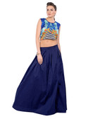 Colorful & Stylish Blue Colored Paper Silk & Banglori Fabric Printed Lehenga