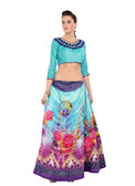 Colorful & Stylish Sky Blue Colored Paper Silk & Banglori Fabric Printed Lehenga