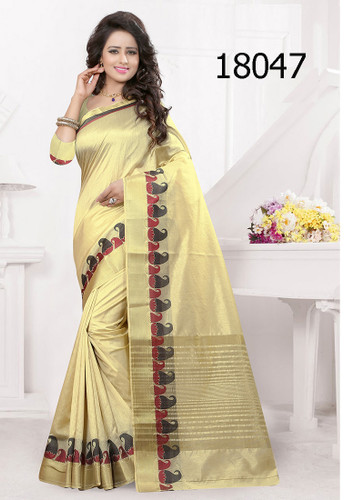 Elegant & Vibrant Beige Colored Banarasi Silk Saree