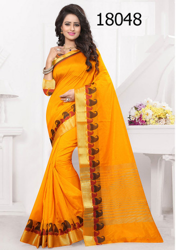 Elegant & Vibrant Orange Colored Banarasi Silk Premium Saree