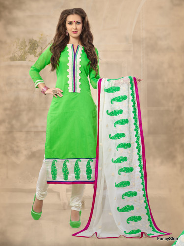 Beautifully Casual Parrot Green Color Chanderi Fabric Straight Cut Suit