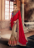 Marvellously Designed Red & Beige Colored Georgette Saree