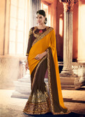 Marvellously Designed Yellow & Brown Colored Crepe & Georgette Saree
