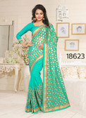 Gorgeous & Stylish Green Colored Lycra And Georgette Saree