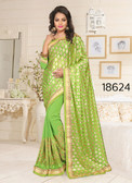 Gorgeous & Stylish Green Color Lycra And Georgette Saree