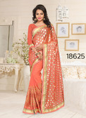 Gorgeous & Stylish Orange Colored Lycra And Georgette Saree