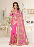Gorgeous & Stylish Pink Colored Lycra And Georgette Saree