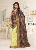 Gorgeous & Stylish Brown And Yellow Colored Lycra Saree