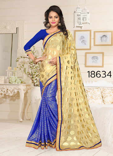 Gorgeous & Stylish Beige And Blue Colored Lycra Saree