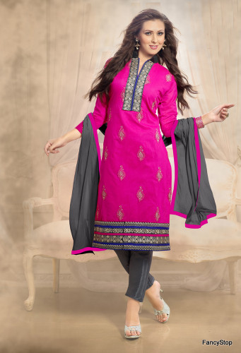 Beautifully Casual Pink Color Chanderi Fabric Straight Cut Suit