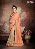 Exceptionally Fascinating Orange & Beige Colored Pure Chinnon & Net Saree