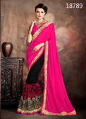 Exceptionally Fascinating Pink & Black Colored Faux Silk & Georgette Saree