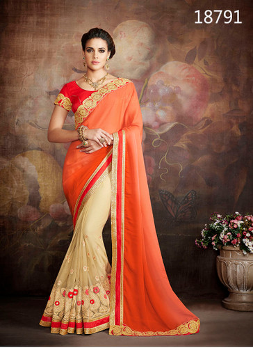 Exceptionally Fascinating Orange & Beige Colored Georgette Saree