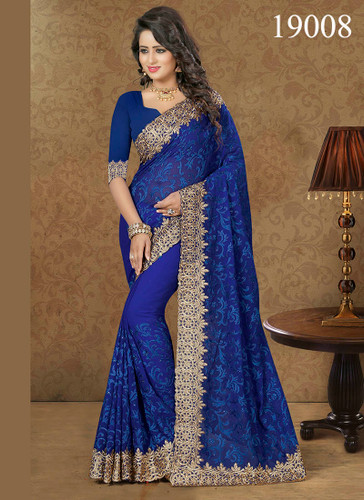 Gorgeous & Lively Blue Colored Designer Georgette Saree