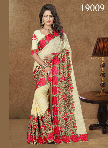 Gorgeous & Lively Cream Colored Georgette Saree