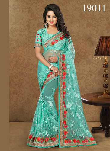Gorgeous & Lively Green Colored Net Saree