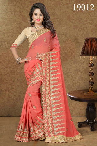Gorgeous & Lively Peach Colored Georgette Saree