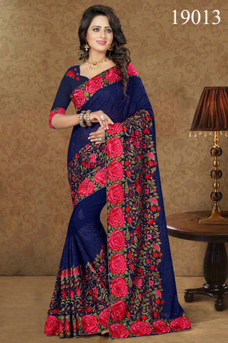 Gorgeous & Lively Blue Colored Premium Georgette Saree