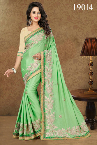 Gorgeous & Lively Green Colored Chinnon Saree