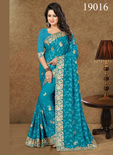 Gorgeous & Lively Blue Colored Pretty Georgette Saree