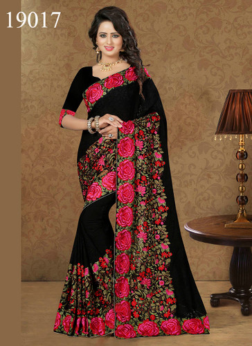 Gorgeous & Lively Black Colored Georgette Saree