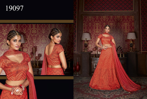 Exquisitely Crafted & Enthralling Orange Colored Silk Lehenga