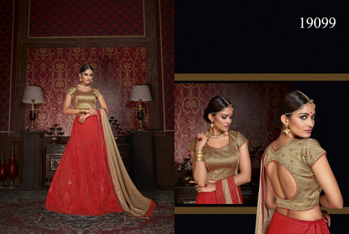 Exquisitely Crafted & Enthralling Red Colored Premium Silk Lehenga
