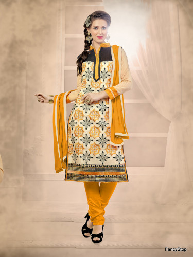 Beautifully Casual Cream Color Chanderi Fabric Straight Cut Suit