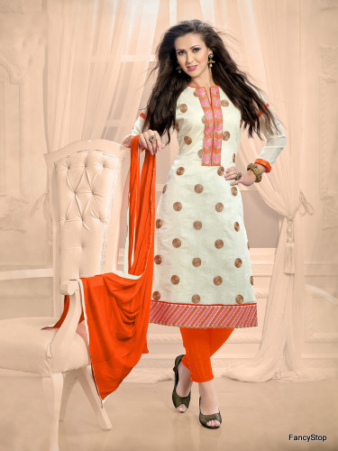 Beautifully Casual Off White Color Chanderi Fabric Straight Cut Suit