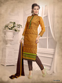 Beautifully Casual Yellow Color Chanderi Fabric Straight Cut Suit
