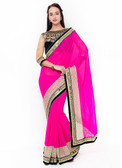 Graceful & Gorgeous Pink Colored Georgette Designer Saree