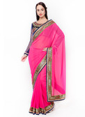 Graceful & Gorgeous Pink Colored Georgette Premium Saree