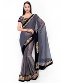 Graceful & Gorgeous Grey Colored Lycra Saree