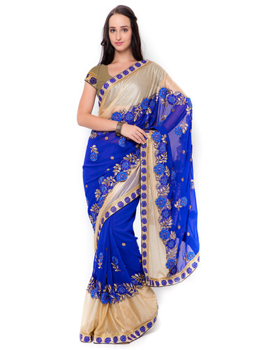 Graceful & Gorgeous Blue & Beige Colored Georgette & Lycra Saree