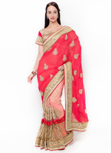 Graceful & Gorgeous Peach Colored Georgette & Net Saree