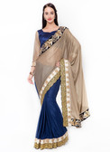 Graceful & Gorgeous Beige & Blue Colored Lycra Saree