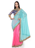 Graceful & Gorgeous Blue & Pink Colored Lycra Saree