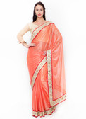 Graceful & Gorgeous Orange Colored Lycra Saree