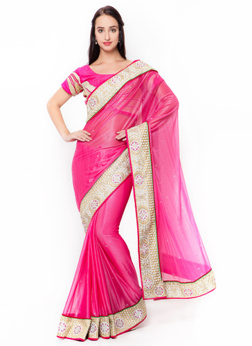 Graceful & Gorgeous Pink Colored Lycra Saree