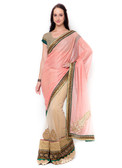 Graceful & Gorgeous Peach & Beige Colored Lycra & Net Saree