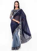 Graceful & Gorgeous Blue Colored Lycra Designer Saree