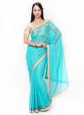 Graceful & Gorgeous Blue Colored Lycra Premium Saree