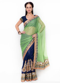 Graceful & Gorgeous Green & Blue Colored Lycra Saree