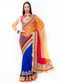 Graceful & Gorgeous Orange, Red & Blue Colored Net & Georgette Saree